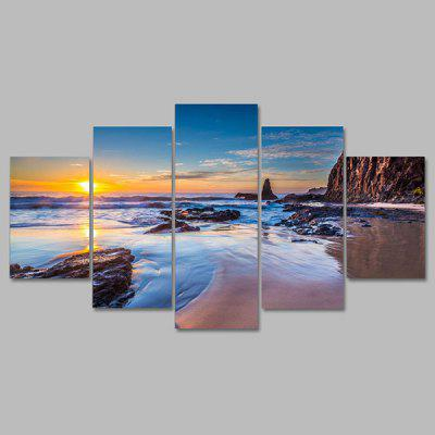 Buy COLORMIX YSDAFEN kn 79 5 Panels Seascape Pattern Canvas Print for $55.37 in GearBest store
