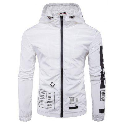Hombres Impermeable Impreso Zip-up Hooded Jacket