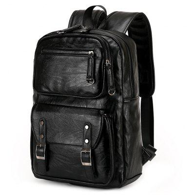 FEIDIKABOLO Men Fashion Solid Color PU Backpack