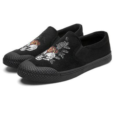 Masculino Trendy Tiger Embroidery Flat Slip On Casual Shoes