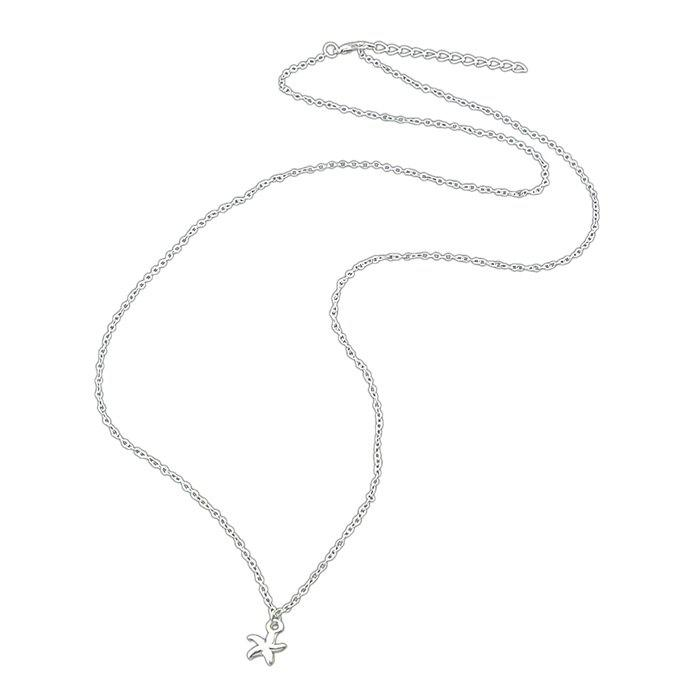 SILVER Trendy Alloy Star Pendant Chain Women Necklace