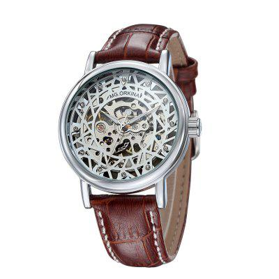 MG.ORKINA MG003 Leather Band Men Mechanical WatchMens Watches<br>MG.ORKINA MG003 Leather Band Men Mechanical Watch<br><br>Band material: Leather<br>Band size: 24 x 2cm<br>Brand: MG.ORKINA<br>Case material: Alloy<br>Clasp type: Pin buckle<br>Dial size: 4.2 x 4.2 x 1.1cm<br>Display type: Analog<br>Movement type: Mechanical watch<br>Package Contents: 1 x Watch<br>Package size (L x W x H): 26.00 x 6.00 x 3.00 cm / 10.24 x 2.36 x 1.18 inches<br>Package weight: 0.1000 kg<br>Product size (L x W x H): 24.00 x 4.20 x 1.10 cm / 9.45 x 1.65 x 0.43 inches<br>Product weight: 0.0800 kg<br>Shape of the dial: Round<br>Watch mirror: Acrylic<br>Watch style: Fashion<br>Watches categories: Men