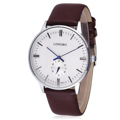 Buy Longbo 80070 Male Quartz Watch with Leather Band, WHITE AND BROWN, Watches & Jewelry, Men's Watches for $14.55 in GearBest store