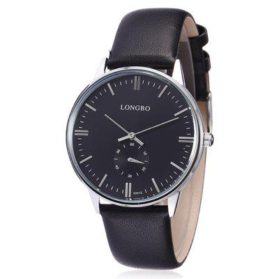 Buy Longbo 80070 Male Quartz Watch with Leather Band, BLACK, Watches & Jewelry, Men's Watches for $14.55 in GearBest store