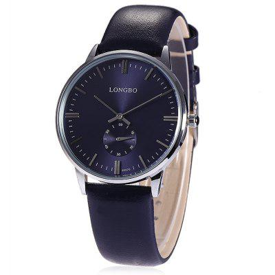 Buy Longbo 80070 Male Quartz Watch with Leather Band, BLUE, Watches & Jewelry, Men's Watches for $14.55 in GearBest store