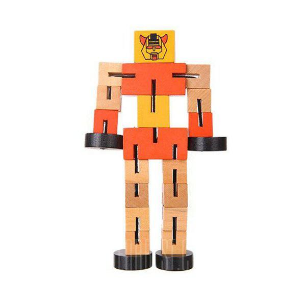 Educational Toys Multifunctional Wooden Robots - ORANGE