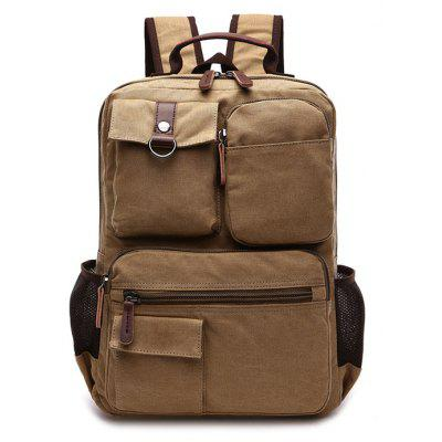 Buy KHAKI Men Fashion Retro Canvas Travel Backpack for $22.62 in GearBest store