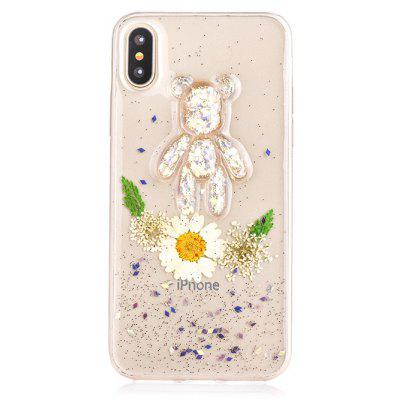 TPU Material Flower Bear Pattern Phone Case for iPhone X