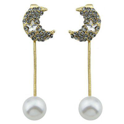 Cute Women Alloy Crescent Earrings with Artificial Pearls