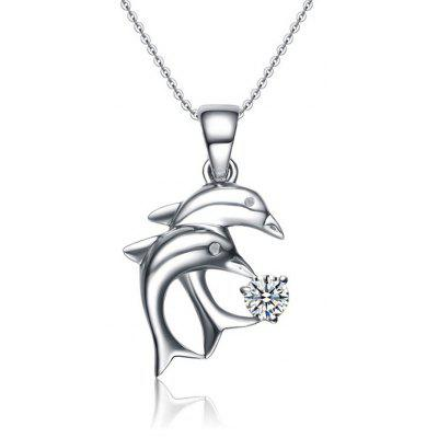 SH STARHARVEST N - 0084 Silver Dolphin Pendant Necklace