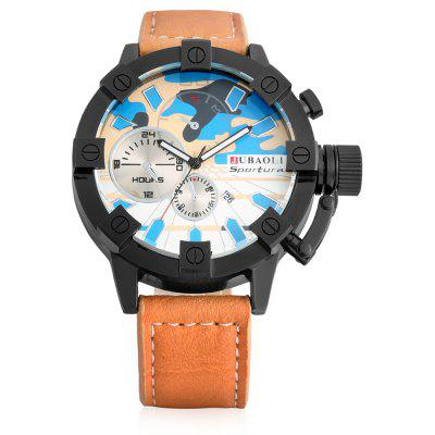 Buy BLUE Jubaoli 1188 Male Quartz Watch with Leather Band for $9.41 in GearBest store