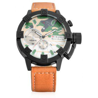 Buy GREEN Jubaoli 1188 Male Quartz Watch with Leather Band for $9.41 in GearBest store