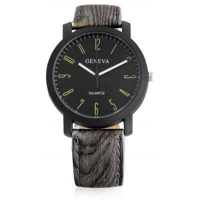 Geneva A302 Male Quartz Watch with Leather Band