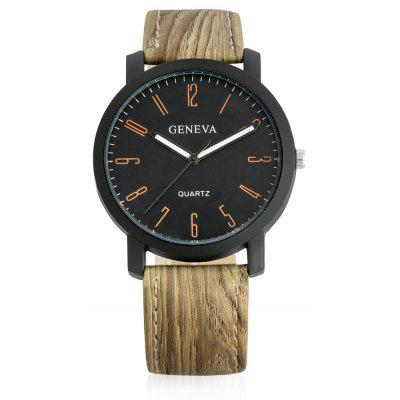 Geneva A302 Fashion Male Quartz Watch with Leather Band