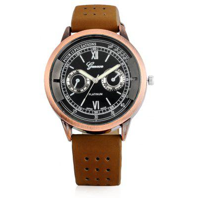 Geneva A303 Male Quartz Watch with Leather Band