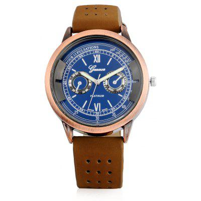Geneva A303 Fashion Male Quartz Watch with Leather Band