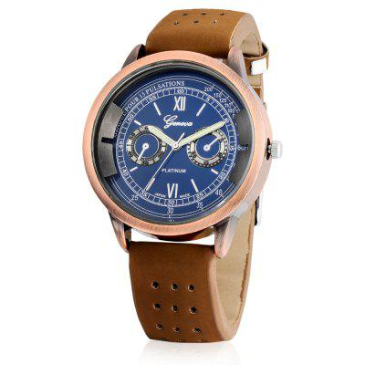 Geneva A303 Male Quartz Watch with Leather BandMens Watches<br>Geneva A303 Male Quartz Watch with Leather Band<br><br>Band material: Leather<br>Band size: 26 x 2cm<br>Brand: Geneva<br>Case material: Alloy<br>Clasp type: Buckle<br>Dial size: 4.5 x 4.5 x 1cm<br>Display type: Analog<br>Movement type: Quartz watch<br>Package Contents: 1 x Watch, 1 x Box<br>Package size (L x W x H): 8.50 x 8.00 x 5.50 cm / 3.35 x 3.15 x 2.17 inches<br>Package weight: 0.0920 kg<br>Product size (L x W x H): 26.00 x 4.50 x 1.00 cm / 10.24 x 1.77 x 0.39 inches<br>Product weight: 0.0580 kg<br>Shape of the dial: Round<br>Watch mirror: Acrylic<br>Watch style: Casual<br>Watches categories: Men<br>Wearable length: 19.5 - 23.5cm