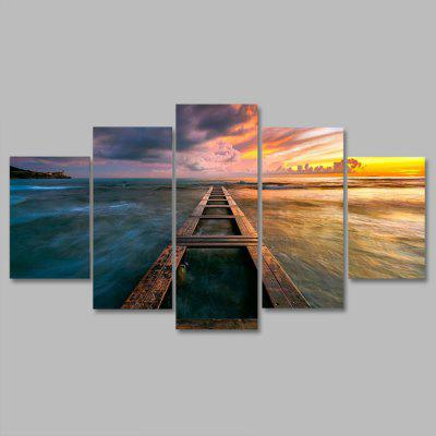 Buy COLORMIX YSDAFEN kn 393 5 Panels Seascape Pattern Canvas Print for $55.37 in GearBest store