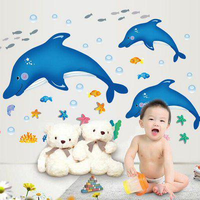 Buy COLORMIX DIY Home Decor Cartoon Dolphins Wallpaper Wall Sticker for $4.60 in GearBest store