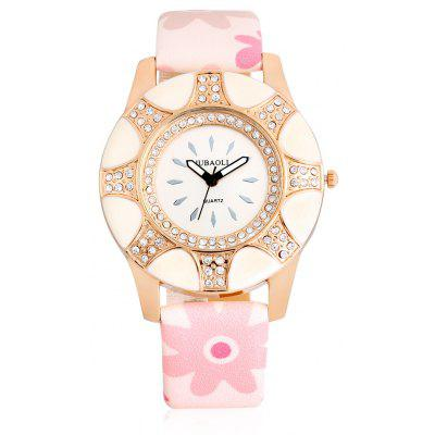 Buy LIGHT PINK Jubaoli A2013 Female Quartz Watch with Leather Band for $5.03 in GearBest store