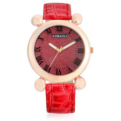 Buy RED Jubaoli A2012 Female Quartz Watch with Leather Band for $4.93 in GearBest store