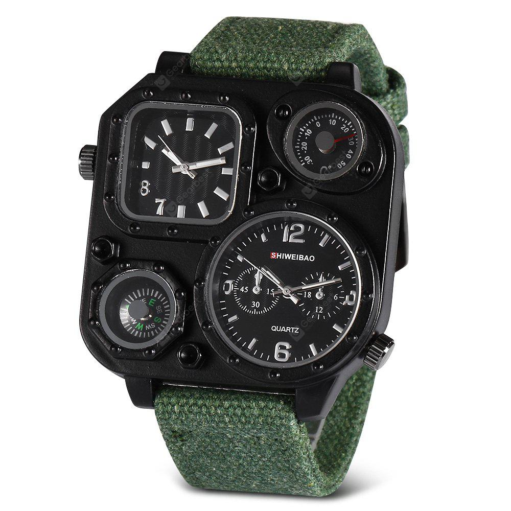 GREEN SHI WEI BAO J1169 Male Double Movt Watch with Compass