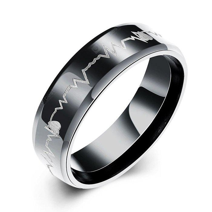 Male Electrocardiogram Pattern Titanium Steel Ring