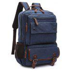 Men Outdoor Fashion Retro Canvas Travel Backpack - DEEP BLUE