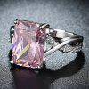 Pink Diamond Eight Heart Four Claws Ring - PINK