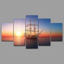 5PCS YSDAFEN Sea Sailboat Printed Painting Canvas Print