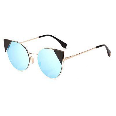 Buy REFLECTIVE BLUE COLOR Cat Eye Cool Unisex Anti UV Sunglasses for $8.40 in GearBest store
