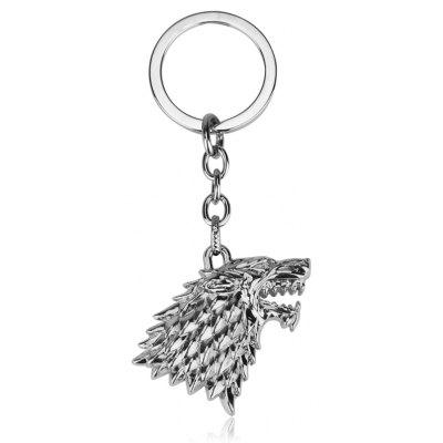 Novelty Keychain with Wolf Head Pendant