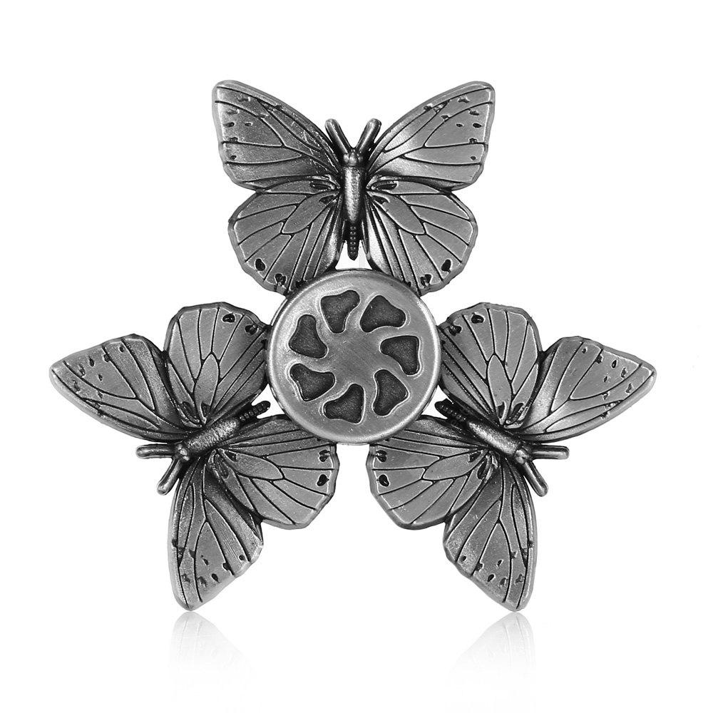 SILVER Butterfly Zinc Alloy Fidget Tri-spinner Pressure Reducing Toy