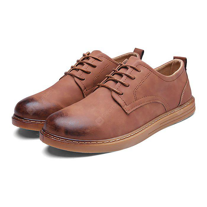 Male Simple Solid Color Soft Casual Leather Shoes - BROWN