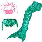 3pcs Fish Tail Type Swimsuit for Kids - GREEN