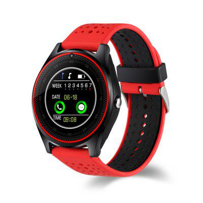 V9 Quad Band Smartwatch PhoneSmart Watch Phone<br>V9 Quad Band Smartwatch Phone<br><br>Additional Features: Bluetooth, MP3, 2G, Notification, Waterproof<br>Battery: 380mAh built-in polymer battery<br>Bluetooth: Yes<br>Bluetooth Version: V3.0<br>Camera type: Single camera<br>Cell Phone: 1<br>Compatible OS: IOS, Android<br>CPU: MTK6261<br>English Manual: 1<br>External Memory: TF card up to 32GB (not included)<br>Frequency: GSM850/900/1800/1900MHz<br>Front camera: 0.1MP<br>Languages: English, French, Spanish, Polish, Portuguese, Korean, Italian, German, Dutch, Turkish, Russian, Hebrew<br>Music format: MP3<br>Network type: GSM<br>Package size: 10.00 x 10.00 x 7.20 cm / 3.94 x 3.94 x 2.83 inches<br>Package weight: 0.1250 kg<br>Product size: 25.60 x 4.49 x 1.33 cm / 10.08 x 1.77 x 0.52 inches<br>Product weight: 0.0670 kg<br>RAM: 32MB<br>ROM: 64MB<br>Screen resolution: 240 x 240<br>Screen size: 1.22 inch<br>SIM Card Slot: Single SIM<br>TF card slot: Yes<br>Type: Watch Phone<br>USB Cable: 1<br>Wireless Connectivity: GSM, Bluetooth