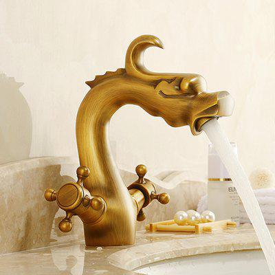 Yuda Antique Brass Dragon Shape Bathroom Sink Faucet