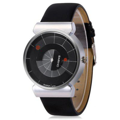 Buy BLACK BARIHO A76 Round Dial Quartz Men Watch Leather Band for $8.82 in GearBest store