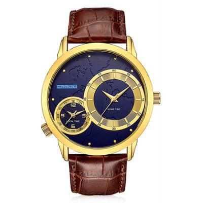 Buy GOLDEN CRRJU 2131 Genuine Leather Band Men Quartz Watch for $18.15 in GearBest store