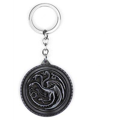 Novelty Keychain with Three Heads Dragon Pendant