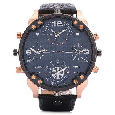 SHI WEI BAO A3157 - 1 Large Dial Dual Movt Quartz WatchMens Watches<br>SHI WEI BAO A3157 - 1 Large Dial Dual Movt Quartz Watch<br><br>Band material: Leather<br>Band size: 27.2 x 2.4 cm<br>Brand: Shiweibao<br>Case material: Zinc Alloy<br>Clasp type: Pin buckle<br>Dial size: 5.5 x 5.5 x 1.5 cm<br>Display type: Analog<br>Movement type: Quartz watch<br>Package Contents: 1 x Watch, 1 x Box<br>Package size (L x W x H): 10.36 x 7.84 x 7.43 cm / 4.08 x 3.09 x 2.93 inches<br>Package weight: 0.1761 kg<br>Product size (L x W x H): 27.20 x 5.50 x 1.20 cm / 10.71 x 2.17 x 0.47 inches<br>Product weight: 0.1050 kg<br>Shape of the dial: Round<br>Special features: Multi Time Zones<br>Watch style: Fashion<br>Watches categories: Men<br>Wearable length: 21 - 25.5 cm
