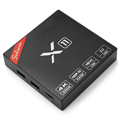 Sidiwen X11 TV BoxTV Box<br>Sidiwen X11 TV Box<br><br>Audio format: WMA, RM, OGG, MP3, FLAC, AAC<br>Bluetooth: Unsupport<br>Brand: Sidiwen<br>Core: 2.0GHz, Quad Core<br>CPU: Cortex A53<br>Decoder Format: H.265, H.264, HD MPEG4<br>DVD Support: No<br>External Subtitle Supported: No<br>GPU: Mali-450<br>HDMI Version: 2.0<br>Interface: USB2.0, DC Power Port, RJ45, SPDIF, TF card<br>Language: English,French,Germany,Italian,Japanese,Multi-language<br>Max. Extended Capacity: TF card up to 32GB (not included)<br>Model: X11<br>Other Functions: 3D Video, ISO Files, Miracast, DLNA, 3D Games<br>Package Contents: 1 x TV Box, 1 x HDMI Cable, 1 x IR Remote, 1 x English User Manual, 1 x Power Adapter<br>Package size (L x W x H): 18.00 x 12.00 x 5.00 cm / 7.09 x 4.72 x 1.97 inches<br>Package weight: 0.3960 kg<br>Photo Format: BMP, GIF, TIFF, JPEG, PNG, JPG<br>Power Supply: Charge Adapter<br>Power Type: External Power Adapter Mode<br>Processor: S905X<br>Product size (L x W x H): 9.10 x 9.10 x 1.90 cm / 3.58 x 3.58 x 0.75 inches<br>Product weight: 0.2450 kg<br>RAM: 2G RAM<br>RAM Type: DDR3<br>RJ45 Port Speed: 100M<br>ROM: 8G ROM<br>Support 5.1 Surround Sound Output: Yes<br>System: Android 6.0<br>System Bit: 64Bit<br>TV Box Features: 5.1 Surround Sound Output,Portable<br>Type: TV Box<br>Video format: WMV, RM, MPEG, MP4, AVI, ISO, DAT, MKV<br>WiFi Chip: RTL8189