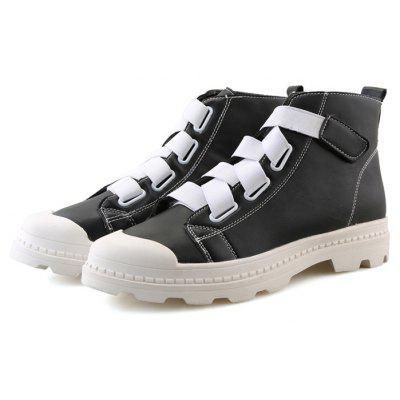 Male Trendy Buckle Strap High Top Casual Leather Shoes WHITE