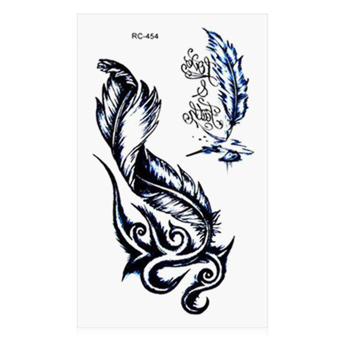 Weird Feather Letter Pattern Temporary Tattoo