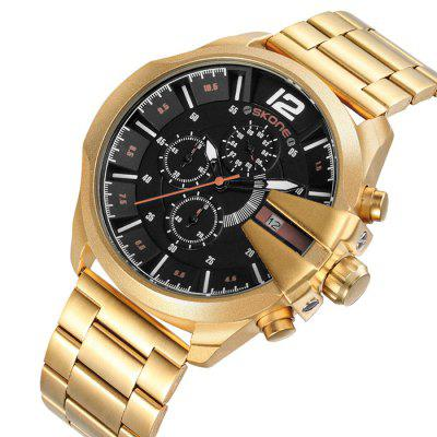 SKONE 7428EG01 Steel Band Men Quartz WatchMens Watches<br>SKONE 7428EG01 Steel Band Men Quartz Watch<br><br>Band material: Steel<br>Band size: 24.6 x 2.2cm<br>Brand: Skone<br>Case material: Alloy<br>Clasp type: Sheet folding clasp<br>Dial size: 4.8 x 4.8 x 1.1cm<br>Display type: Analog<br>Movement type: Quartz watch<br>Package Contents: 1 x Watch, 1 x Box<br>Package size (L x W x H): 28.00 x 8.00 x 3.50 cm / 11.02 x 3.15 x 1.38 inches<br>Package weight: 0.1850 kg<br>Product size (L x W x H): 24.60 x 4.80 x 1.10 cm / 9.69 x 1.89 x 0.43 inches<br>Product weight: 0.0770 kg<br>Shape of the dial: Round<br>Watch mirror: Mineral glass<br>Watch style: Fashion<br>Watches categories: Men