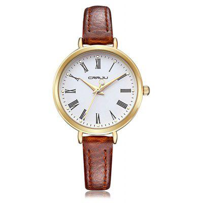 Buy BROWN CRRJU 2110 Female Small Genuine Leather Band Quartz Watch for $14.39 in GearBest store