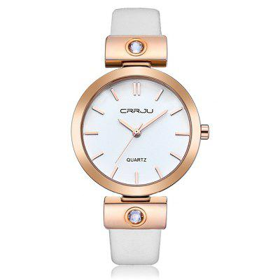 Buy WHITE CRRJU 2118 Female Genuine Leather Band Quartz Watch for $15.30 in GearBest store