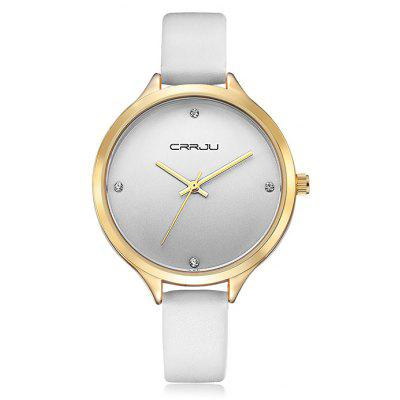 Buy WHITE CRRJU 2120 Female Genuine Leather Band Quartz Watch for $13.78 in GearBest store