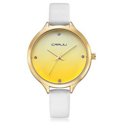 Buy YELLOW CRRJU 2120 Female Genuine Leather Band Quartz Watch for $13.78 in GearBest store
