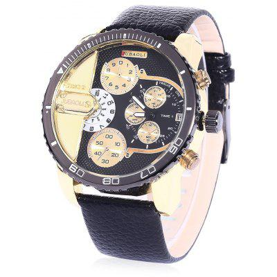 Jubaoli 2005 Male Double Movt Wristwatch with Leather Band